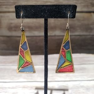 Vtg stained glass & gold tone kidney wire earrings